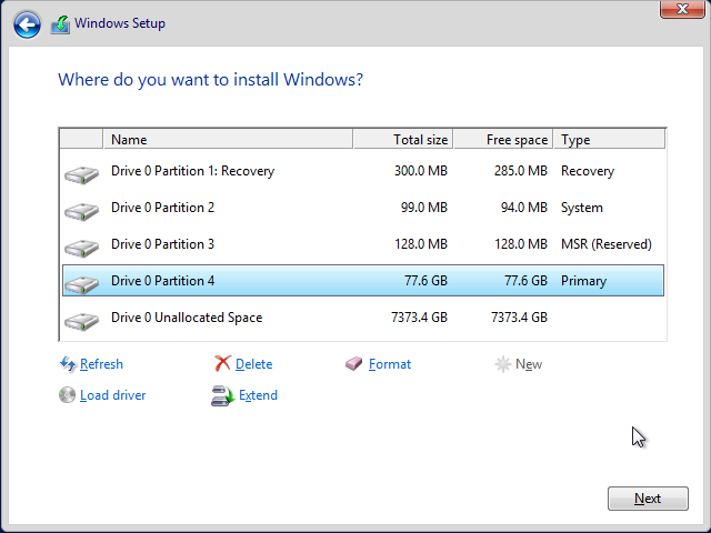 Installing Windows Server for GPT Partitioning and Large (>2TB
