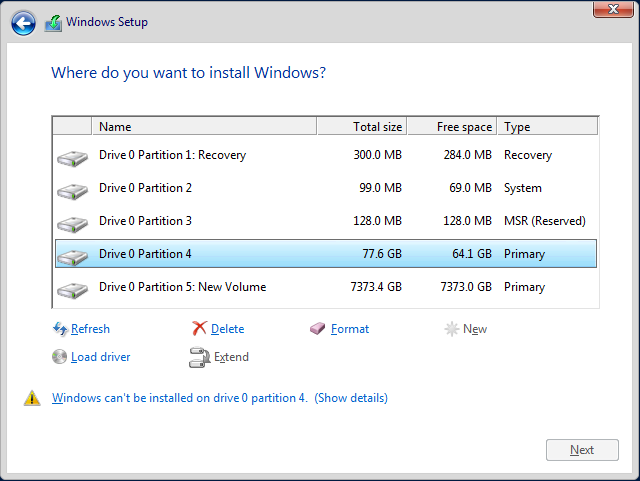 Installing Windows Server for GPT Partitioning and Large