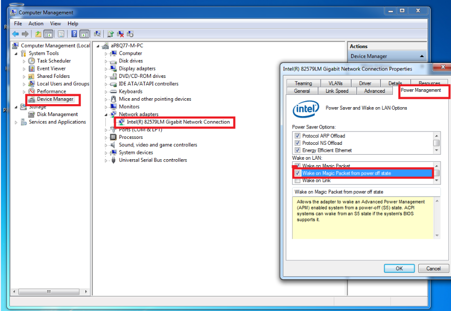 How to Enable Wake-On-LAN on Systems with an Intel LAN