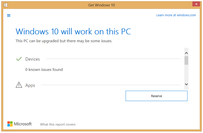 Example Results of Windows 10 Compatibility in Get Windows 10 Application