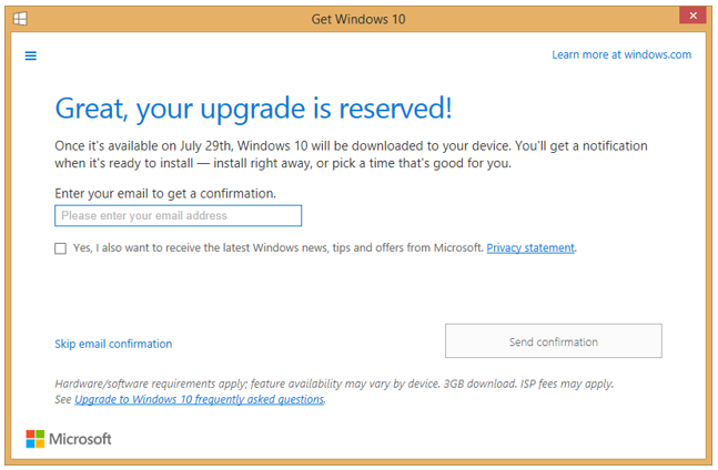 Entering Email Confirmation Address in Get Windows 10 Application