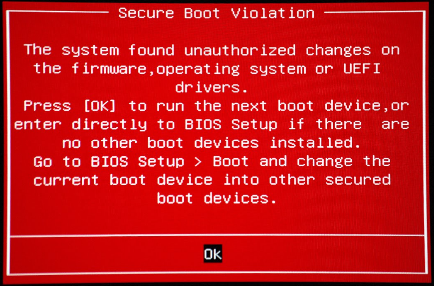 Why is my Windows 7 System giving me a Secure Boot Violation Error