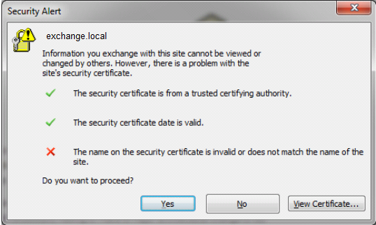 Outlook clients report a Certificate name Mismatch after an SSL