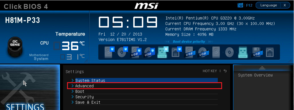 MSI H81M-P33 - BOAMOT-464 - How to Enable Wake from Sleep (S3 state
