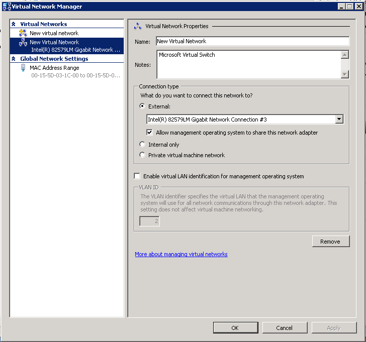 Incorrect Hyper-V Virtual LAN Configuration causes Network