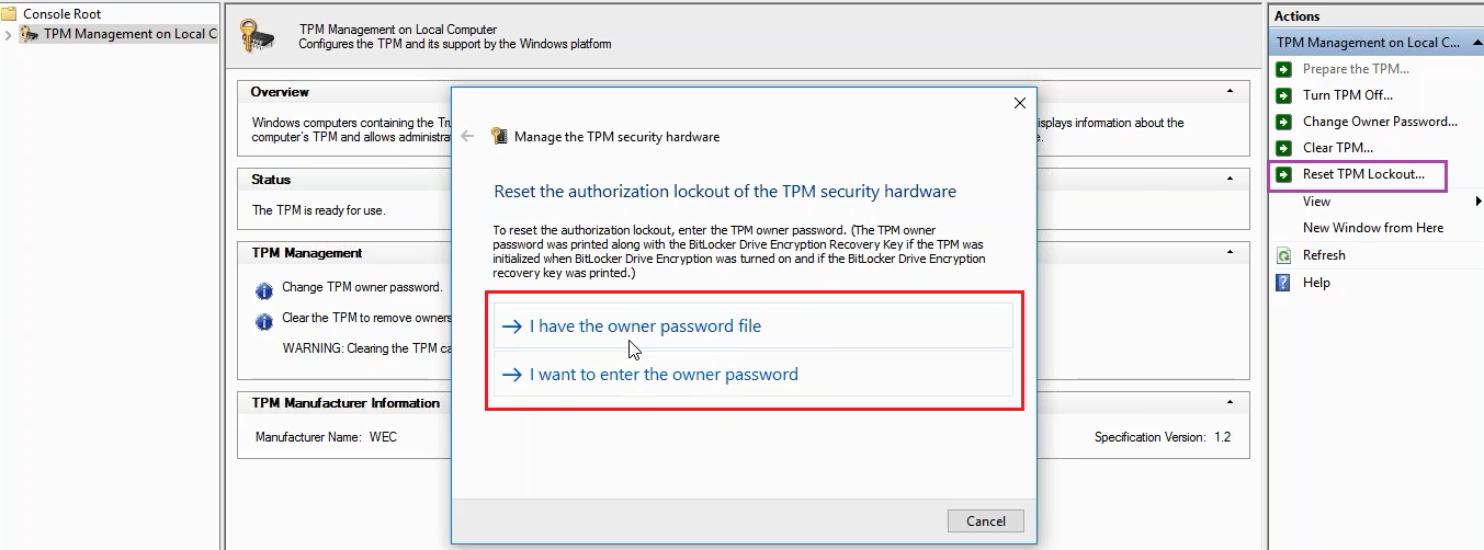 How can I Clear a TPM module or Recover from Authorisation